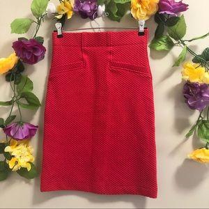 Anthropologie Ganni Red Waffle Pencil Skirt